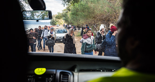Refugee crisis viewed from a car on Lesbos, Greece. Photo: iStock.com